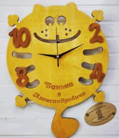 Laser Cut Funny Cat Clock Free CDR Vectors Art