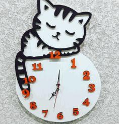 Laser Cut Layout Of Clock With A Cat Free CDR Vectors Art