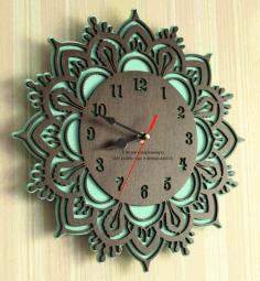 Laser Cut Layout Of Layered Clock Free CDR Vectors Art