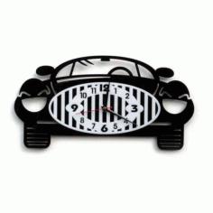 Laser Cut Model Of A Clock In The Shape Of A Car Free CDR Vectors Art