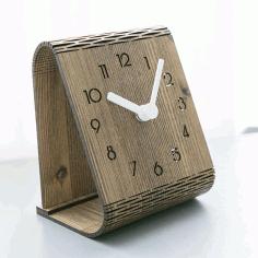 Laser Cut Minimalist Desktop Clock Template Free AI File