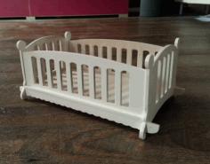 Laser Cut Wooden Doll Cot Bed Template Free CDR Vectors Art