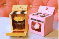 Laser Cut Oven Cupcake Box Template Free PDF File