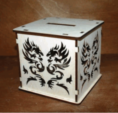 Laser Cut Dragon Design Bank Box Drawing Free DXF File