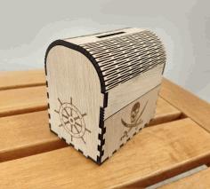 Laser Cut Treasure Chest Money Box Pirate Piggy Bank Free DXF File