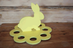 Laser Cut Layout For Egg Stand Rabbit Free CDR Vectors Art