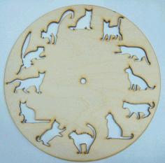 Laser Cut 12 Cats Clock Free CDR Vectors Art