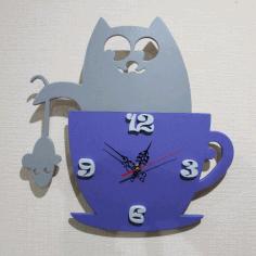 Cat Clock Laser Cut Free CDR Vectors Art