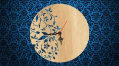 Laser Cut Floral Clock Free CDR Vectors Art