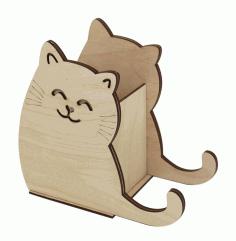 Laser Cut Cat Pencil Holder 3mm Free CDR Vectors Art