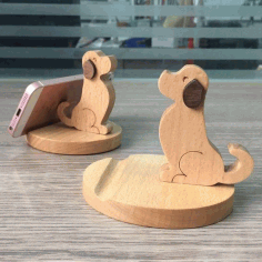 Puppy Phone Stand Cell Phone Holder Laser Cut Free CDR Vectors Art