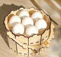 Laser Cut Decorative Wooden Basket Free CDR Vectors Art