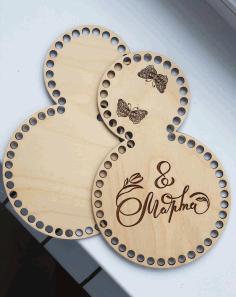 Laser Cut Wooden Basket Bottoms For Crochet Women Day 8 March Gift Free CDR Vectors Art