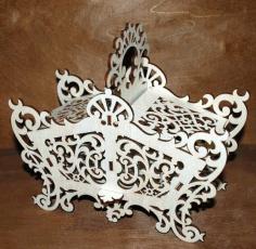 Laser Cut Wooden Candy Dish Decorative Candy Bowl Basket 6mm Free CDR Vectors Art