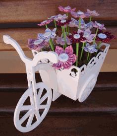 Laser Cut Wooden Tricycle Bike Flower Basket Free CDR Vectors Art