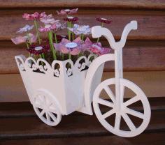 Wooden Tricycle Bike Flower Basket Laser Cut Free CDR Vectors Art