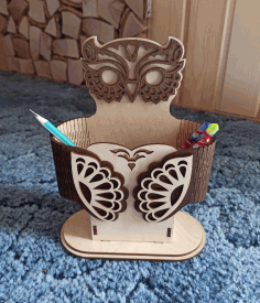 Pen Holder Owl Shaped Desk Organizer For Laser Cut Free CDR Vectors Art