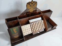 Wooden Desktop Organizer Office Supplies Storage Free CDR Vectors Art
