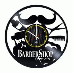 Vintage Barber Shop Decor Vinyl Record Wall Clock For Laser Cut Free CDR Vectors Art