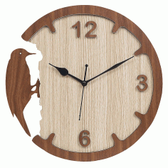Woodpecker Style Wall Clock Modern Design Decorative Clock For Laser Cut Free CDR Vectors Art