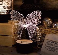 Laser Cut Decorative Butterfly Acrylic Lamp Free CDR Vectors Art