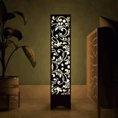 Laser Cut Flower Design Wooden Floor Lamp Free CDR Vectors Art