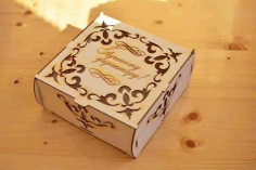 Gift Box For New Year For Laser Cutting Free CDR Vectors Art