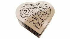 Jewellery Box Heart Drawing For Laser Cutting Free CDR Vectors Art