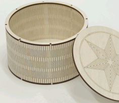 Laser Cut Engrave Round Wooden Box With Lid Flex Box Free DXF File