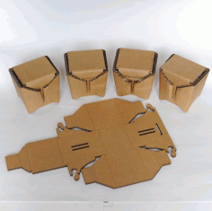 Laser Cut Small Cardboard Box No Glue EPS Vector