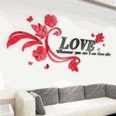 Laser Cut Love Wall Sticker Free CDR Vectors Art