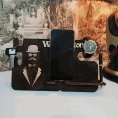 Men Desk Organizer Phone Docking Station For Laser Cutting Free CDR Vectors Art