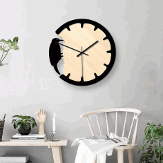 Model Of A Clock With A Woodpecker For Laser Cutting Free CDR Vectors Art