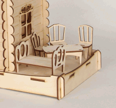 Dollhouse Furniture Miniature Chair Table Bed For Laser Cutting Free CDR Vectors Art