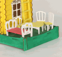Plywwood Dollhouse Furniture Miniature Chair Table Bed For Laser Cutting Free CDR Vectors Art