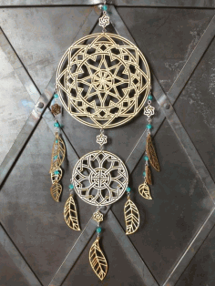 Indian Amulet Dreamcatcher Layout For Laser Cutting Free CDR Vectors Art