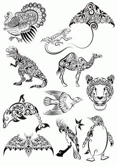 Laser Cut Ornament Animals Tattoo Pack Free CDR Vectors Art