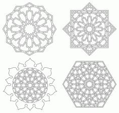 Islamic Art Geometric Design Graphics Free DXF File