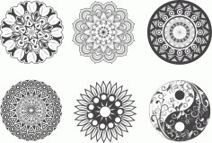 Indian Mandala Design For Laser Cutting EPS Vector