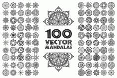 Laser Cut Mandala Frame Set EPS Vector