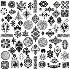 Laser Cut Ornaments Pattern Designs EPS Vector
