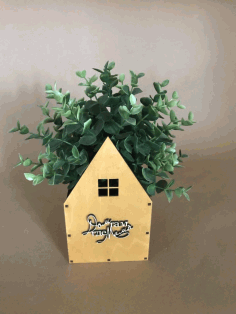 House Shaped Flower Box For Laser Cut Free CDR Vectors Art