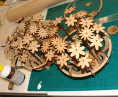 Laser Cut Table Flower Decoration Home Decor Free DXF File