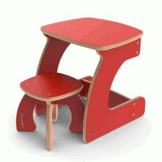 Wooden Table Chair Laser Cut Free CDR Vectors Art