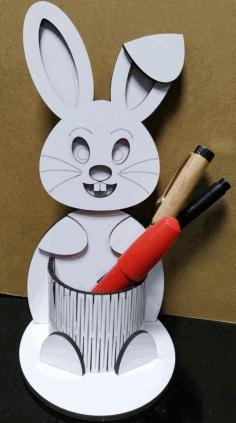 Bunny Pen Holder For Laser Cut Free CDR Vectors Art