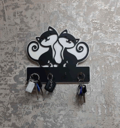 Cute Cats Key Holder For Laser Cutting Free CDR Vectors Art