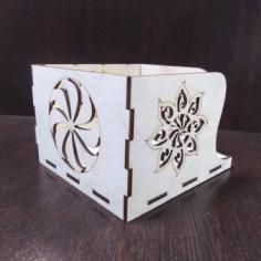 Napkin Holder Mockup With Pattern For Laser Cut Free DXF File