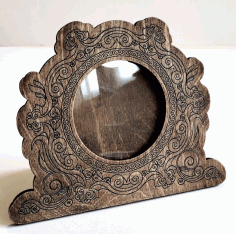 Round Wooden Photo Frame Decorative Engraved For Laser Cut Free CDR Vectors Art
