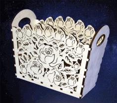 Floral Basket For Laser Cutting Free CDR Vectors Art
