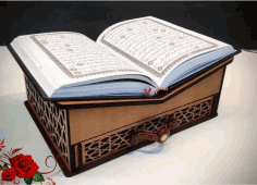 Quran Stand With Drawer For Laser Cutting Free CDR Vectors Art